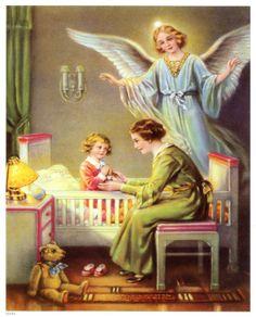 Guardian Angel, at home: mother + kid / Schutzengel zu Hause: Mutter + Kind