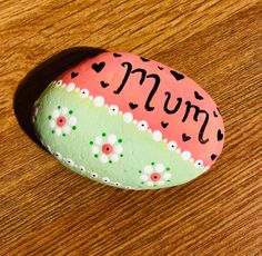 Mother's Day or Celebration stone . Hand painted can be varnished if placing outside. Delivery available on request. Mummy Crafts, Paint Cans, Gifts For Friends, Celebration, Delivery, Hand Painted, Stone, Creative, How To Make