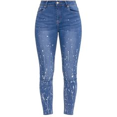 Fion Khaki Bleach Splatter Skinny Jean ($40) ❤ liked on Polyvore featuring jeans, pants, blue jeans, denim skinny jeans, bleached jeans, skinny jeans and khaki jeans
