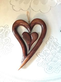 Walnut wood heart in heart Carving