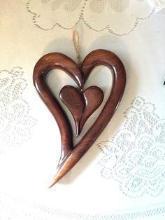 Walnut wood heart in heart Carving
