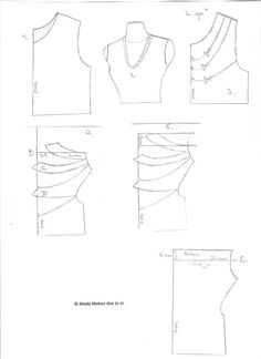 Hoe verander je een basic patroon van een T-shirt in een shirt met watervalhals... | Mode maken doe je zo Sewing Paterns, Sewing Patterns Free, Free Pattern, Sewing Hacks, Sewing Crafts, Diy Tops, Pattern Drafting, Sewing For Beginners, Sewing Techniques