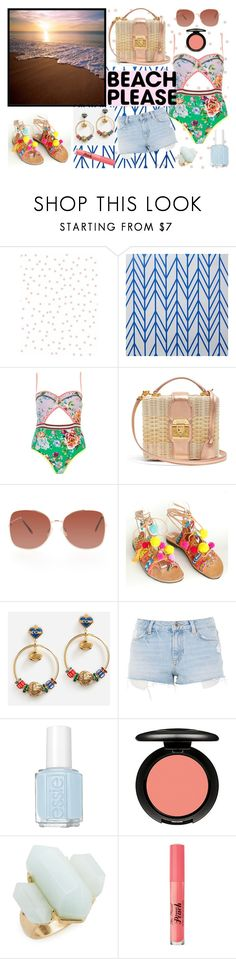 """beach"" by crz963 ❤ liked on Polyvore featuring Chasing Paper, River Island, Mark Cross, Dolce&Gabbana, Topshop, Essie, MAC Cosmetics, Treasure & Bond, Too Faced Cosmetics and floral"