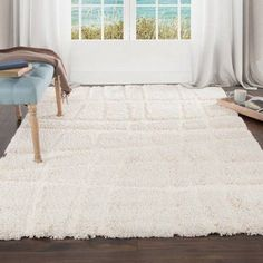 Somerset Home Everest Shag Sculptured Stripes Rug, White