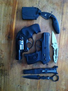 My EDC.  Ruger LC9 primary: Ruger LCR in .38 Special as back-up: Benchmade dagger: Ka-Bar tactical concealed: Buck spring assist pocket blade!