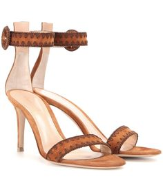 Gianvito Rossi - Embroidered suede sandals - Gianvito Rossi updates its signature silhouette for the new season. Crafted in supple, cognac-hued suede with a brown, embroidered trim, this stylish pair will finish your boho looks on a refined note. We're teaming ours with frayed denim! seen @ www.mytheresa.com