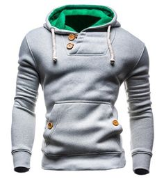 Slimming Hooded Single-Breasted Front Pocket Applique Design Men's Long Sleeves Hoodie