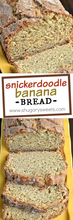 Take your classic banana bread recipe to the next level! This Snickerdoodle Banana Bread has a crunchy top coating of cinnamon and sugar, a real crowd pleaser!