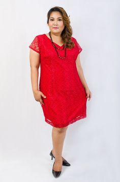 Plus Size Lace Dress in Red by KSYPLUS on Etsy, $65.00