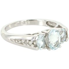 Estate 10 Karat White Gold Diamond Aquamarine Trilogy Ring Fine from preciousandrarepieces on Ruby Lane