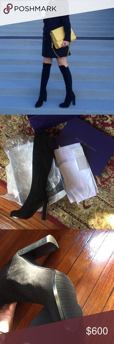 NWR NIB Stuart Weitzman Hijack black suede Amazing shoe brand new in box!! Authentic, have receipt from Mall. Fits like a true 7.5.....can make a posting on M/ercari for less or could do PayPal because posh just takes out way too much for fees Stuart Weitzman Shoes Over the Knee Boots