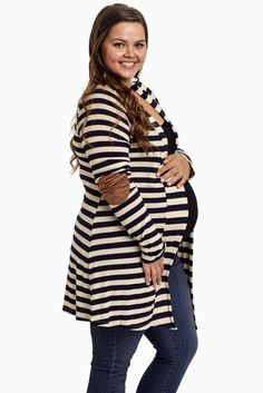 Navy-Beige-Striped-Elbow-Patch-Plus-Size-Maternity-Cardigan