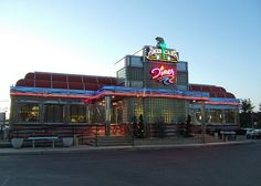 """This great """"old"""" diner was built in 1998. Nonetheless the design brings us back to the neon 1940's. It is built by Kullman, famous diner designers for 35 years, known for their use of stainless steel and Formica. It is located in Shrewsbury, NJ, on Rt. 35.,"""