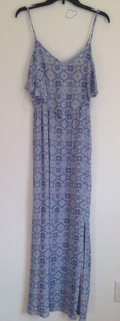 c7350d5d864 Mudd Women Floral Print Spaghetti Strap Side Slit Layered Maxi Dress Sz M  NWT
