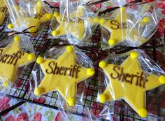 Cowboy theme party | Sheriff Cookies. would add each kids name under sheriff for thank you gift