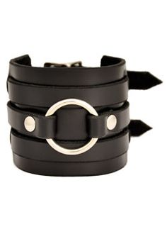 3 Row O Ring Wristband - punk, gothic, leather wristbands