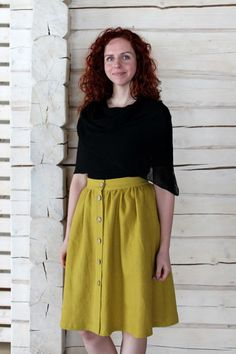 Falda de lino talle alto en aceite de oliva ligero por egLinen