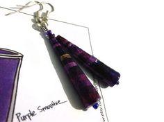 Purple Paper Bead Earrings  Handmade Individual by PurpleSmoothie, $9.95