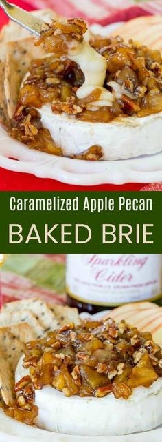Caramelized Apple Pecan Baked Brie a quick and easy appetizer recipe for every Caramelized Apple Pecan Baked Brie a quick and easy appetizer recipe for everyones favorite cheesy party snack! Celebrate with Martinellis! via Cupcakes & Kale Chips Brie Cheese Recipes, Baked Brie Recipes, Apple Recipes, Fruit Recipes, Fall Recipes, Quick And Easy Appetizers, Easy Appetizer Recipes, Appetizers For Party, Appetizer Ideas