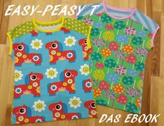 """Das **""""Easy-Peasy T""""** ist ein schnell genähtes Shirt für Mädchen & Jungs, das viele Variationsmöglichkeiten bietet und Ideal zur Resteverwertung geeignet ist!  Das Ebook beeinhaltet: - Das..."""