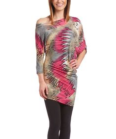 Pink Abstract Ruched Top