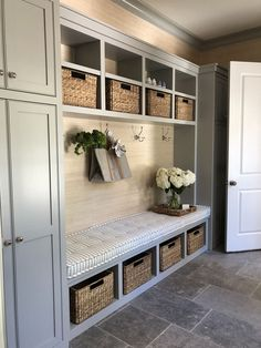 Let these mudroom entryway ideas welcome you home. Instantly tidy up and organize your hallway or entryway with industrial mudroom entryway. Mudroom Laundry Room, Laundry Room Design, Mud Room Garage, Mudroom Cubbies, Garage Entry, Front Entry, Mud Room Lockers, Garage Conversion To Family Room, Entry Way Lockers