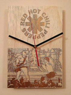 Check out this item in my Etsy shop https://www.etsy.com/listing/494930534/handmade-wooden-wall-clock-rock-band-red