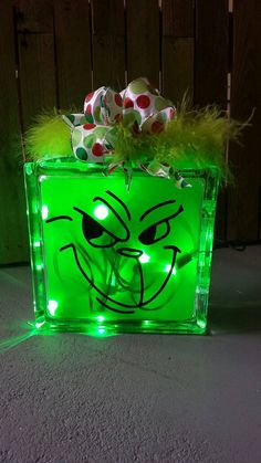 Grinch Lighted Glass Block Holiday Glass by CreaTiveVinylDezign