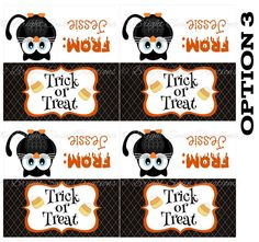 Personalized Halloween Treat Bag Topper -DIY Printable - Print all you need! C3