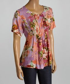 This Pink & Green Floral Pleated Top by Indian Tropical Fashions is perfect! #zulilyfinds
