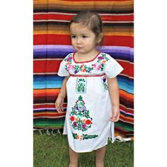WhiteSize: 2TTraditional Puebla Mexican DressHandmade Embroidered Each dress has a unique pattern and colors embroider Light weight CottonMade to be worn loose and at least knee length