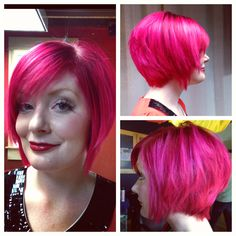 Pink hair! I did this yesterday :) short, pink, hair, semi permanent, Leyton House Professional, educator, colorist, hot pink, awesomeness #stylistmandie on Instagram