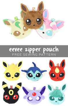 Free Eevee Pokemon zipper pouch patterns - Sew Desu Ne?