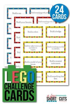 Printable cards with Lego Building Challenge ideas for kids. Lego Activities, Steam Activities, Educational Activities, Lego Games, Educational Websites, Camping Activities, Camping Ideas, Camping Hacks, Lego Club
