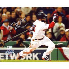 "Dustin Pedroia Boston Red Sox Fanatics Authentic Autographed 8"" x 10"" 2013 World Series Champions Logo Hitting Photograph - $191.99"