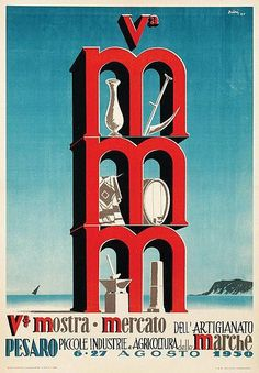 Vintage Italian Posters ~ #illustrator #Italian #posters ~ Mostra-Mercato-Marche - 1950