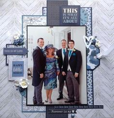 Page Challenge - make a monochromatic page Wedding Scrapbook Pages, Love Scrapbook, Scrapbook Designs, Scrapbook Sketches, Scrapbook Page Layouts, Scrapbooking Ideas, Picture Layouts, Wedding Silhouette, Collages