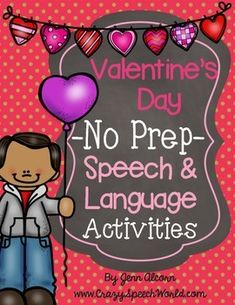 This Valentine's Day No Prep Packet is filled with love and makes a great therapy tool on the go! It's loaded with fun activities to target various expressive and receptive language skills, and articulation! These activities can be used in small group intervention, centers, or for homework…and it's all in black and white, so you can just PRINT and GO! Repinned by SOS Inc. Resources pinterest.com/sostherapy/.