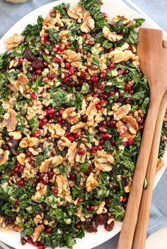 Fall Kale & Farro Salad - with pomegranate, walnuts, cherries & lemon...
