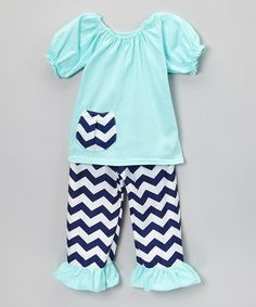 Look at this #zulilyfind! Aqua & Navy Blue Zigzag Top & Pants - Toddler & Girls #zulilyfinds