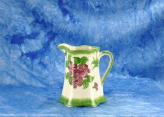 Vintage 1940s Cash Family Pottery Hand Painted Small Green Creamer Pitcher Stamped - World War II - Erwin - Tennessee - Blue Ridge - Ceramic