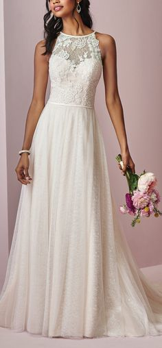 Rebecca Ingram - HEIDI, Soft lace motifs dance over allover lace in the bodice of this boho wedding dress, featuring a sheer halter neckline and sheer lace halter back. #RebeccIngram #Rebeccabride #budgetbride #classicbrides #romanticweddings