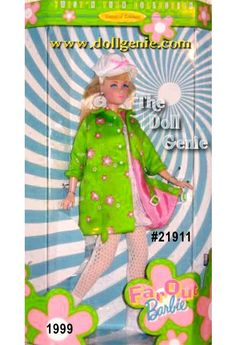 Its flower power as Barbie doll shows off a mod green coat over a white knit dress. With white boots and hat atop her blonde hair, hoop earrings and sunglasses, groovy is the word for this fantastic doll. Doll stand and Certificate of Authenticity included.