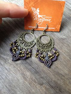 Micro macramé gypsy earrings  violet gray par creationsmariposa, $25.00