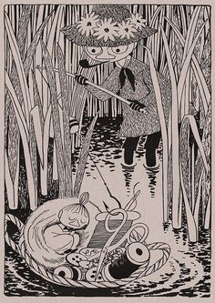 Art by Tove Jansson (except the puppets). I remember owning a Moomin PVC figure on a keychain when I was a kid, and not knowing what it was from. Art And Illustration, Illustrations And Posters, Tove Jansson, Little My, Gravure, Yule, Illustrators, Character Design, Sketches