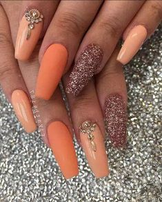 41 Gorgeous And Sexy Orange Gold And Coral Acrylic Nails And Matte Nails Design You May Try This Season - Nail Idea . ꁅꂦꀸ ꉓꂦꋪꍏ ꂦꋪꍏꈤꁅꍟ ꈤꍏꀤꌗ Hope you love these stunning nails collection! յյյօ-շյ ( ω ) ꁅꂦꀸ ꉓꂦꋪꍏ ꂦꋪꍏꈤꁅꍟ ꈤꍏꀤꌗ յյյկ-յ Coral Acrylic Nails, Coral Nails, Orange Nails, Gold Nails, Matte Nails, Glitter Nails, Fun Nails, Matte Gold, Orange Nail Art