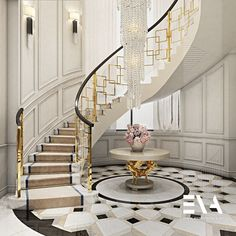 Staircase Chandelier: Amazing Designs That Will Blow Your Mind Classic House Design, Stairs Design, Mansion Interior, Staircase Interior Design, Luxury House Interior Design, Stairs Design Modern, Stairway Design, Luxury Staircase, Home Stairs Design