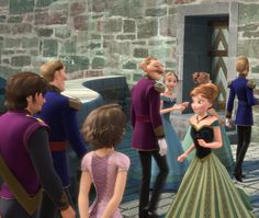 Rapunzel and Flynn in Frozen!! Apparently, Rapunzel's mom and Elsa and Anna's dad are siblings! So they are cousins!
