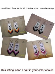 Choose your color Hand Seed Bead White Wolf by EagleplumeCreations, $16.99