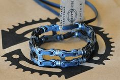 upcycled bike chain and tube wristband